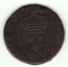 French Colonial, Rare double struck 1734 Q copper sol of 12 deniers