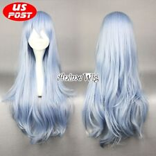 Synthetic Light Blue Long Curly Style Women Lady Cosplay Party Fashion Hair Wig