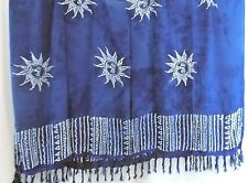 BLUE SUN SARONG ,WRAP TIE DYE COVER UP FRINGE EDGE