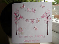 Handmade Personalised New Baby Girl Boy Birth Card Grandparents Granny Nana