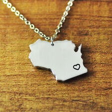 Wisconsin alloy map necklace,personalized map jewelry,State Charm,State Necklace