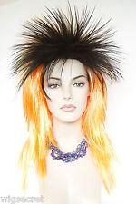 Punk Spikey Shag style Medium Long Straight Fun Color Flamboyant Costume Wigs