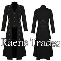 Mens Steampunk Military Gothic Long Black coat
