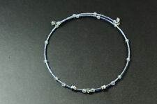 CUTE GIRLY BLUE BEADED CIRCLE WIRE CHOKER, SILVER TONE FLOWER CHARMS (ZX3)