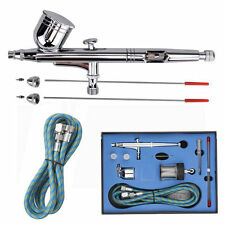 New 0.2/0.3/0.5mm Needle Air Brush Spray Gun Paint Art Dual Action Airbrush Set