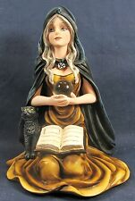 Caped Witch w/ spell book and black cat mythical decor figurine