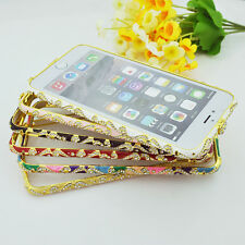 Crystal Rhinestone Diamond Bling Metal Case Cover Bumper For iPhone 5S 6 6 Plus
