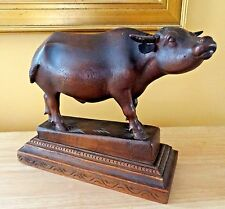 Ant Vtg Hand Carved WATER BUFFALO OX BULL STATUE FIGURE Folk Art Rosewood ?