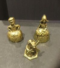 3 Small Vintage Brass Bells Dutch Boy - Girl - Windmill