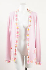 Chanel 04C Pink White Yellow Cashmere Fringe Trim Cardigan Sweater SZ 42