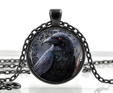 Black Raven Pendant - Gothic Necklace Jewelry - Bird Picture Crow Gifts for Her