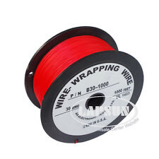 1000Ft 180°C HIGH TEMP Silver Plated Copper Wrapping Wire Cable 30AWG Reel Red A