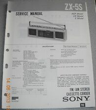 SONY ZX-5S 2-Band Stereo Cassette-Recorder Service Manual