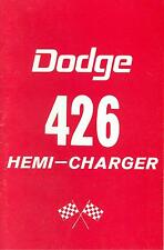 1964 DODGE  426 HEMI-CHARGER  OWNER'S MANUAL SUPPLEMENT