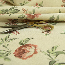 Rose Flower Floral Pattern Red Natural Colour Light Upholstery Fabric Material