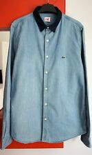 LACOSTE L!VE LIVE Men's Long Sleeve Button Down Collar Light Blue Denim Shirt 41