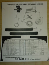 VINTAGE E-Z RAKE #40 VACUUM SWEEPER PARTS LIST for GARDEN TRACTORS