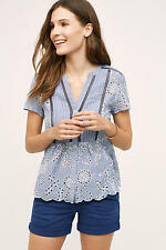 NEW ANTHROPOLOGIE Josune Blouse 2 XS by Maeve Blue Eyelet
