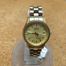 Vintage Ricoh Lady Gold Tone Fluted Bezel Analog Quartz Watch Hour~New Battery