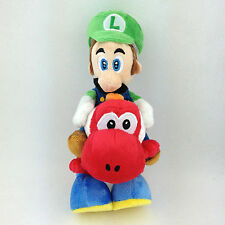 Super Mario Bros Luigi Riding on Red Yoshi Soft Plush Toy Stuffed Animal Doll 8""