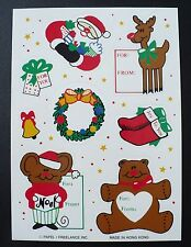 VINTAGE PAPEL/FREELANCE CHRISTMAS FOR & FROM STICKERS 1 SHEET 8 STICKERS SANTA
