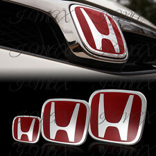 3PCS Front +Rear +Steering Wheel Red Emblem For 2008-2017 HONDA ACCORD SEDAN 4DR