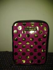 BETSEY JOHNSON ZIPPERED I PAD CASE PINK WITH GOLD DOTS CIRCLES USED