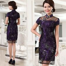 NWT-Elegant Floral Lace Chinese Cheongsam/Qi Pao Evening Party Dress   Size S-L