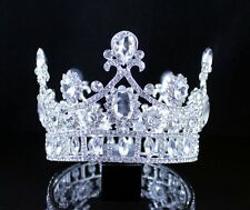 FLORAL ROUND CROWN CLEAR AUSTRIAN CRYSTAL RHINESTONE TIARA PAGEANT PROM T12180