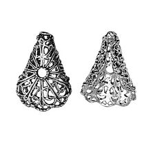 Filigree Ornate Antique Silver Triangle Bead Cap