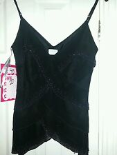 New Black Pure Silk Oasis top size 8 BNWT RRP £45 Lined beaded Strappy evening