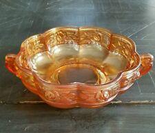 Vintage Jeannette Glass Aztec Rose Iridescent Marigold Octagonal Handled Bowl
