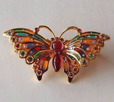 Joan Rivers Plique-a-Jour Stained Glass Brooch Pin Rhinestone Butterfly Enamel