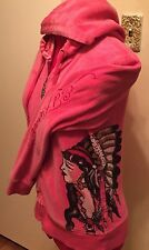 Ed Hardy WOMENS Embellished Hoodie PINK Velour INDIAN PRINCESS - RHINESTNS M