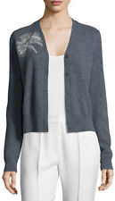 NWT $350 TORY BURCH Grey Merino Wool Bead Embellished Cardigan Sweater - XL