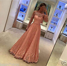 Long Sleeve Lace Pageant Prom Party Dress Formal Evening Gowns Retro Bridal Gown