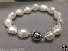 Genuine 8-9mm Baroque Natural White freshwater Culturred pearl bracelet 7.5''