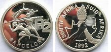 1992 South Africa Large Silver 1 OZ Proof 2 Ra Barcelona Olympics Athletes/Torch