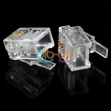 50pcs Durable 2 Pin RJ-11 plug 6P2C modulare Telefono Telefono connettore EB IT