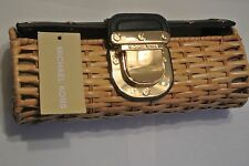 New Michael Kors MK Santorini Rattan Clutch With Navy Blue Leather Trim