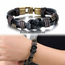 Tribal Black Leather Cord Infinity Knot Cuff Bracelet Wristband for Men