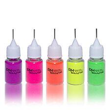 Neon Glitter Glitzer Puder Set Dosierflasche Pink Gelb Lila Orange Nailart