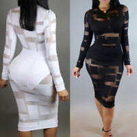 Sexy Women Mesh Transparent Long Sleeve Stretch Bodycon Evening Party Club Dress