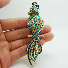 Gorgeous Green Parrot Bird Pendant Rhinestone Crystal Gold-plated Brooch Pin