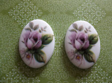 Vintage Pink Rose Cameos Chalkwhite Base German Oval 25 X 18mm Cabochons - Qty 2