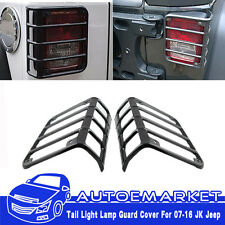 Pair Black Tail Light Guards Rear Lamp Trim Covers For 2007-15 Jeep Wrangler JK