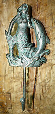 Cast Iron MERMAID DOLPHIN Towel Hooks Hat Rack Nautical Swimming Pool Hook GREEN