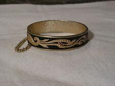 ...Vintage Gold Tone,Black Enamel Clamper Bracelet...
