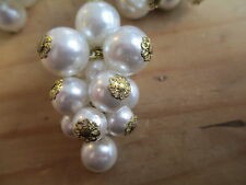 6 Vintage White Glass Pearl Clusters w/Bead Caps - Tassles - Earrings - Pendants