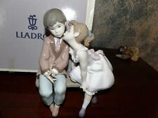 "Lladro #7635 ""Ten and Growing"" Young Girl Kissing Boy on a Bench Retired!"